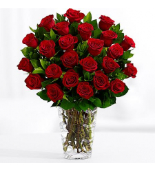 24 red roses with free vase in cebu