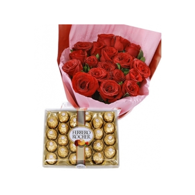 12 red rose bouquet with 24pcs ferrero chocolate to cebu