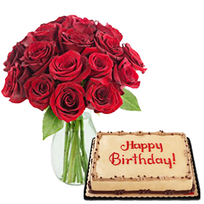 12 Red Rose Vase With Mocha Dedication Cake To Cebu Philippines