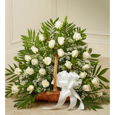 Send Delicate White Roses Basket To Cebu