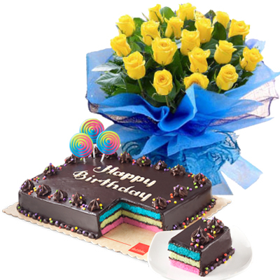 18 Yellow Rose With Rainbow Dedication Cake