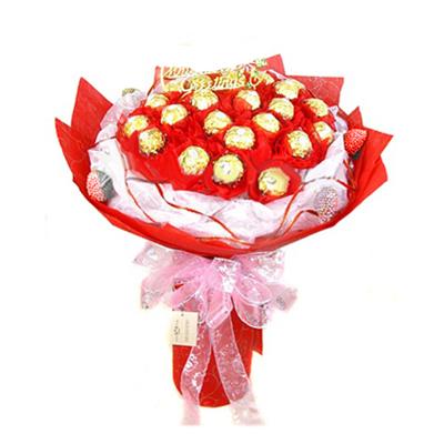 16pcs Ferrero Rocher in a Red Bouquet to Cebu, Philippines
