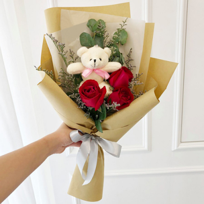 send 3 red roses with mini bear in bouquet to cebu