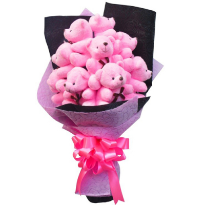 send gorgeous 9 pcs. mini bear bouquet to cebu