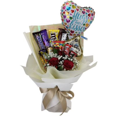 send chocolate with roses and balloon in bouquet to cebu