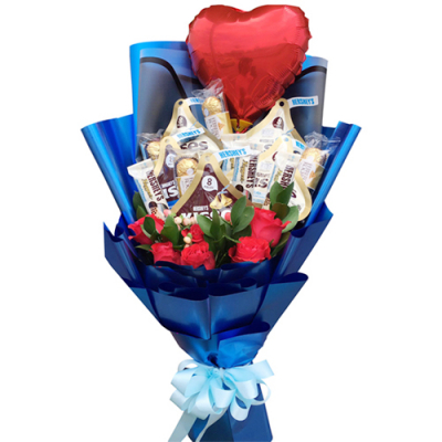 send mixed chocolate with roses and balloon to cebu