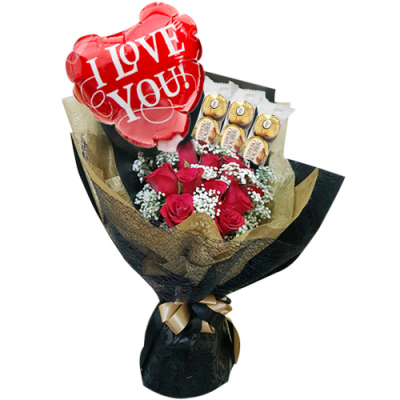 send roses with balloon and ferrero in bouquet to cebu