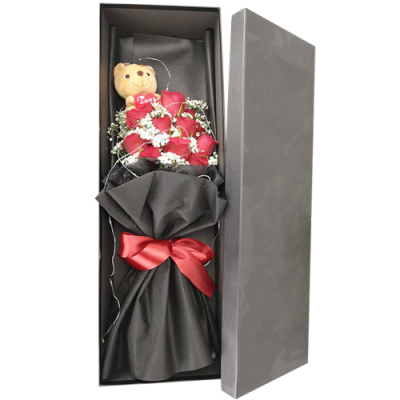 send 12 red roses with mini bear bouquet in box to cebu
