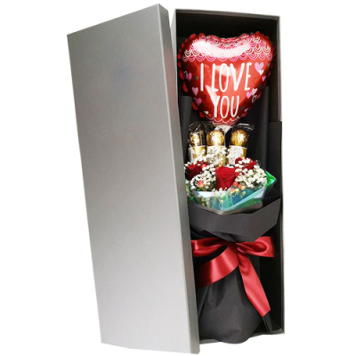 send roses chocolate and balloon bouquet in box to cebu