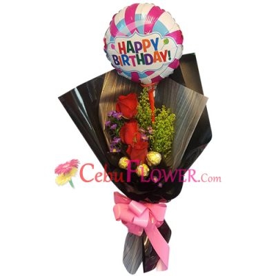 send roses with balloon and chocolate in bouquet to cebu
