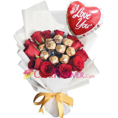 send roses with derrero chocolate and balloon to cebu