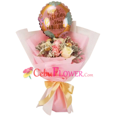 send a bouquet full of roses chocolate balloon to cebu