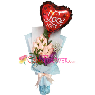 send 12 pink roses with balloon in bouquet to cebu