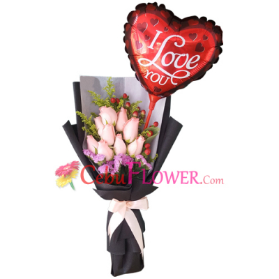 send dozen of pink roses with balloon in bouquet to cebu