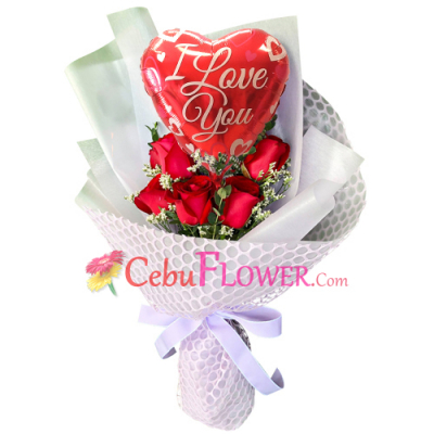 send 5 pcs. red roses with balloon in bouquet to cebu