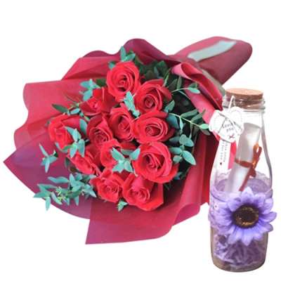 send dozen of red roses with message in bottle to cebu