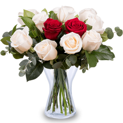 send exclusive 12 red and white roses in vase to cebu