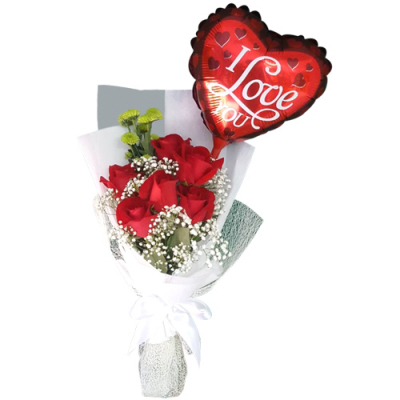 send 6 red roses and balloon in bouquet to cebu
