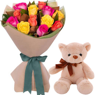 """12 Mixed Roses with 8"""" Brown Teddy Bear"""