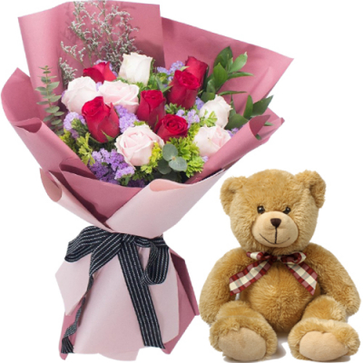 12 Mixed Roses in Bouquet with Small Bear