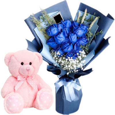 """12 Blue Color Roses with 8"""" Inch Bear"""