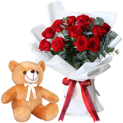 12 Red Color Roses Bouquet with Brown Bear