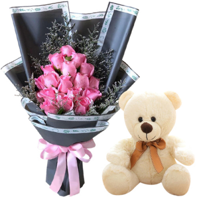 18 Pink Roses in Bouquet with White Bear