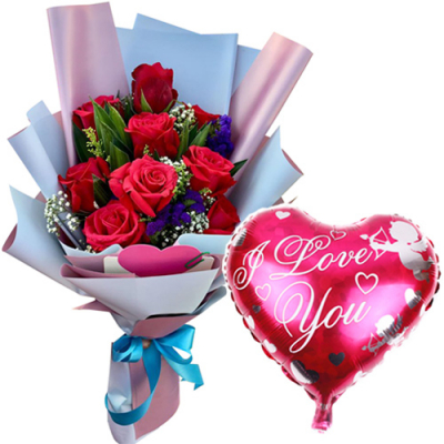 9 Pcs. Red Roses with Mylar Balloon