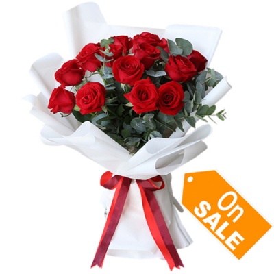 send full of sunshine 12 red roses bouquet to cebu