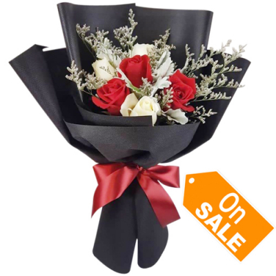 send 6pcs red and white roses in bouquet to cebu