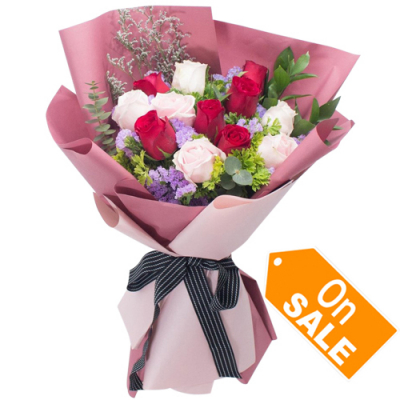 send bunch of 12 red and soft pink roses to cebu