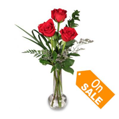 send pure love – 3 stems roses in vase to cebu
