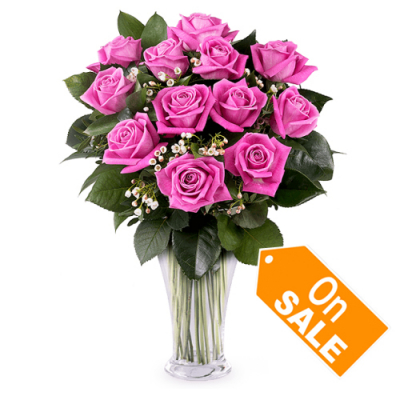 send 12 premium hot pink roses vase to cebu