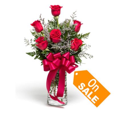 Six Red Roses Garden in Vase