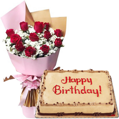 12 Red Roses Bouquet with Birthday Cake