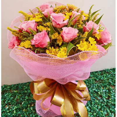 send dozen of fresh pink roses bouquet to cebu