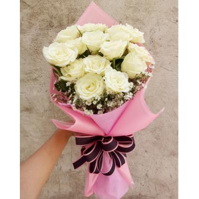 send 14 pcs. white color roses bouquet to cebu