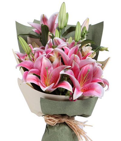 3 stem perfume pink lilies in bouquet to cebu philippines